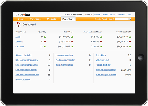 Screenshot of Tradevine Dashboard