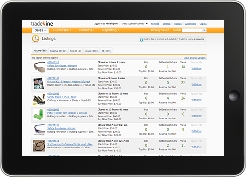 Screenshot of Tradevine Listings